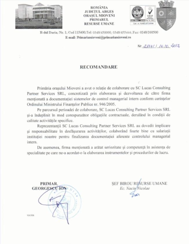 Primaria Orasului Mioveni Arges