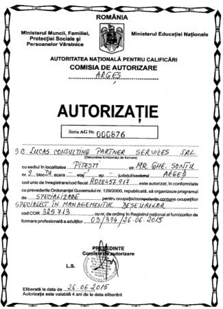 Autorizatie managementul deseurilor