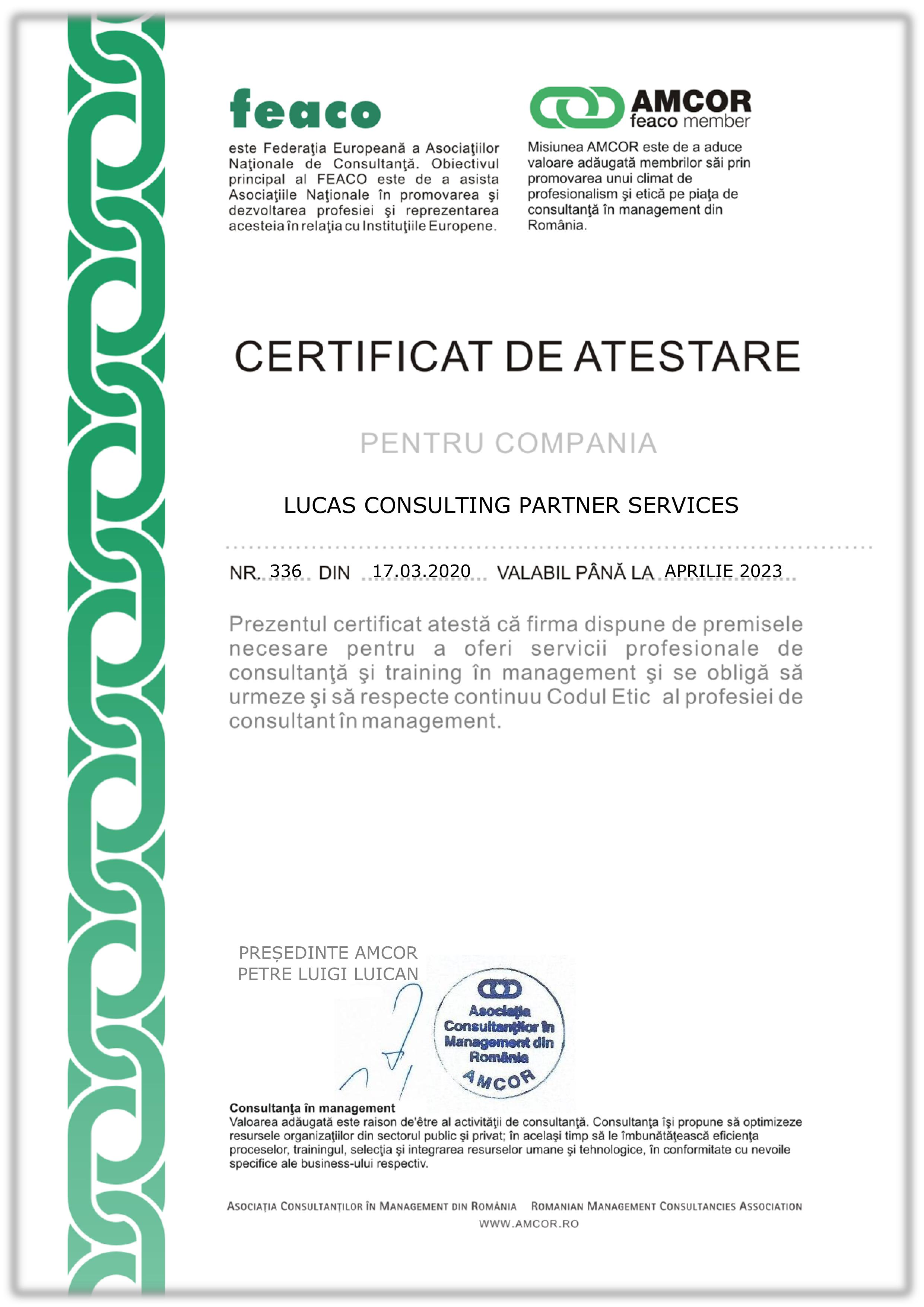 Certificare AMCOR