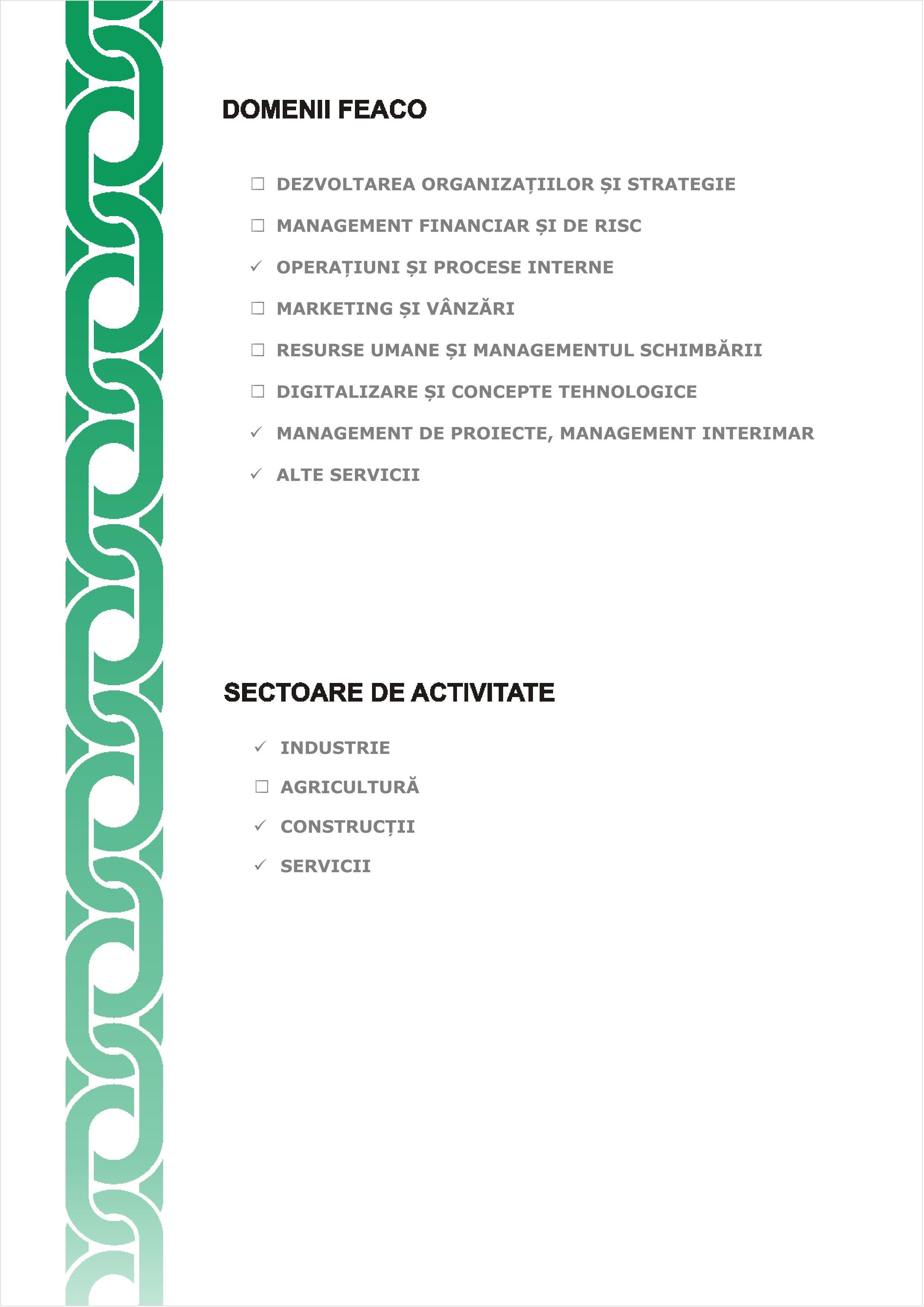 Certificare AMCOR - Domenii de atestare